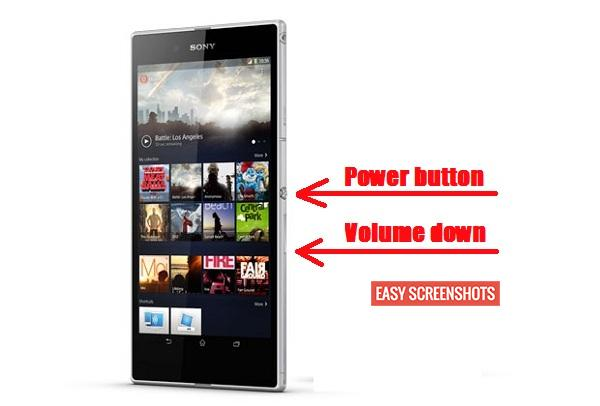 Press Power and Volume Down Button to Take screenshot on Xperia Z