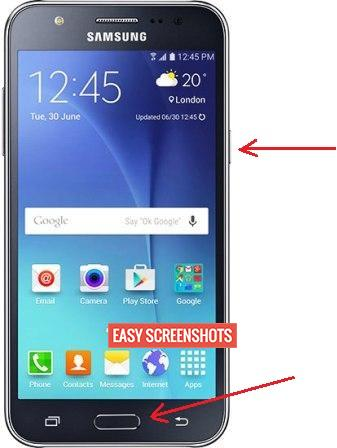 Take Screenshot on Samsung J7 Prime using Hardware Keys