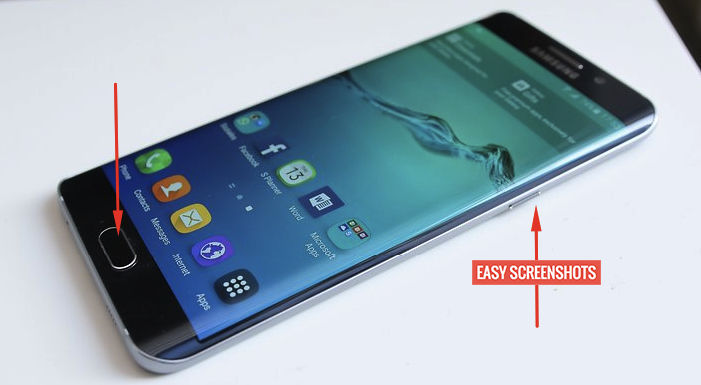 Press Power and Home Button to take screenshot in samsung s6 edge