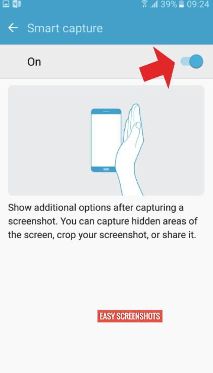 enable smart capture on Samsung S6 Edge