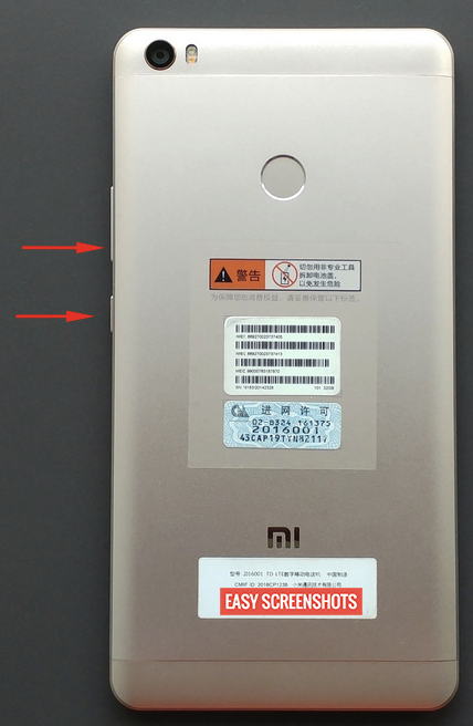 take screenshot on xiaomi mi max 2 with hardware keys